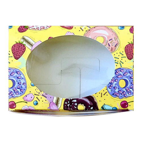 Декоративная упаковка 'Пончики' (коробочка с окошком) 15,5*11*4см