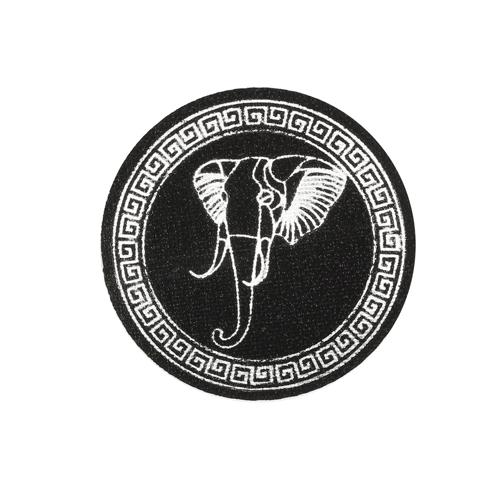 ГС584/2 Термоаппликация Слон, круг 65мм, черный/серебро