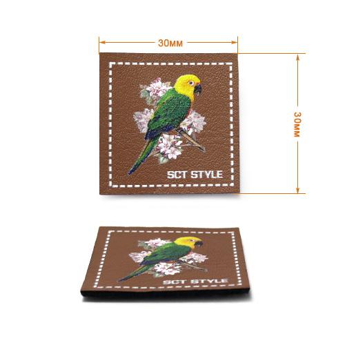 ГЖ1455 Нашивка Попугай 30*30мм, коричневый+лого