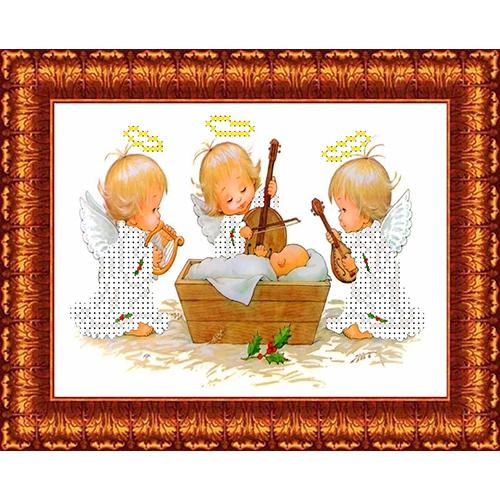 КБА-5012 Канва с рисунком для бисера 'Три ангела у колыбели' А5