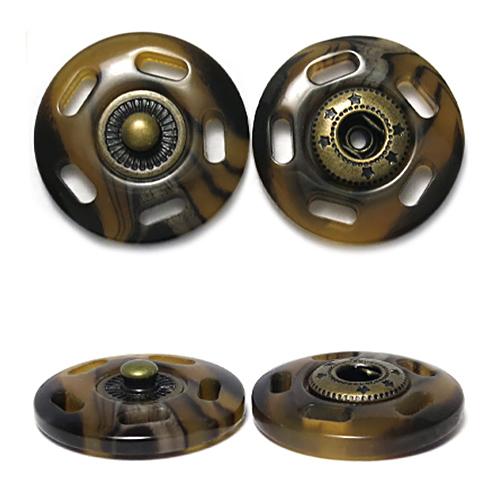 ГДЖ1546 Кнопка пришивная 25мм, рог/бронза