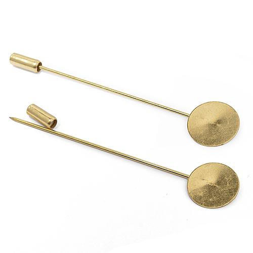 SL.B2.1.2 Заготовка для броши Бутоньерка 7 см d-15мм цв. золото