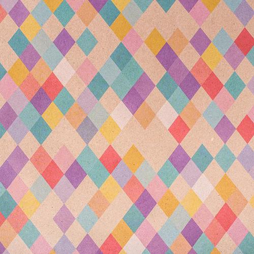2763331 Бумага подарочная крафт 'Цветные ромбики', 50х70 см