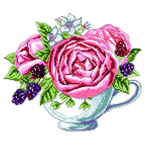 1904 Канва с рисунком Матренин посад 'Ежевика в чашке' 24*35см.(28*37см)