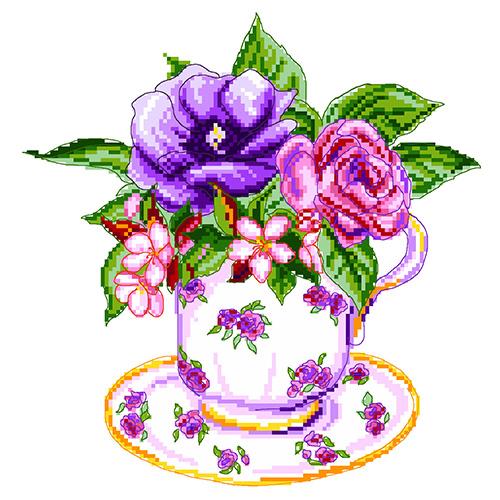 1906 Канва с рисунком Матренин посад 'Роза в чашке' 22*23см (28*37см)