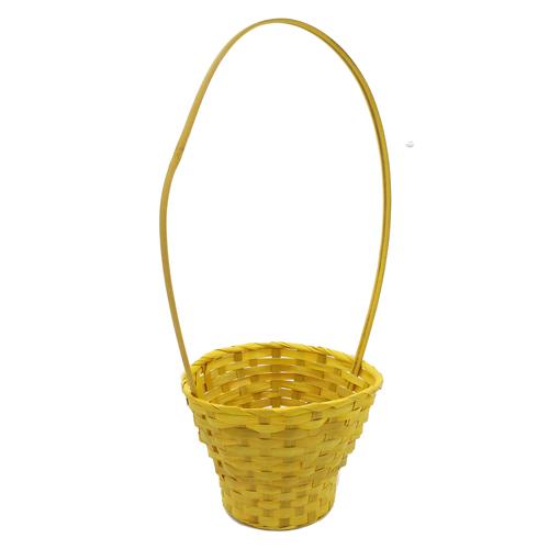 41286 Корзина плетеная бамбук d23xh17/53см желтая