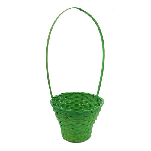 41288 Корзина плетеная бамбук d23xh17/53см зеленая