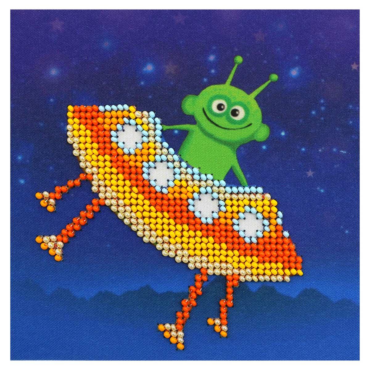 Б-0207 Набор для вышивания бисером Бисеринка 'Инопланетный гость' 12*12см