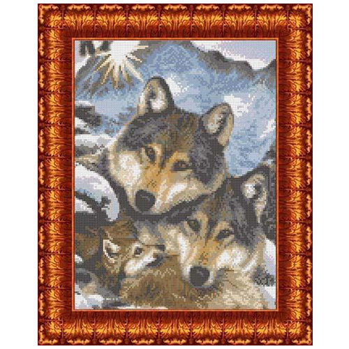 КК 002 Канва с рисунком Каролинка 'Семья волков' 23*30 см