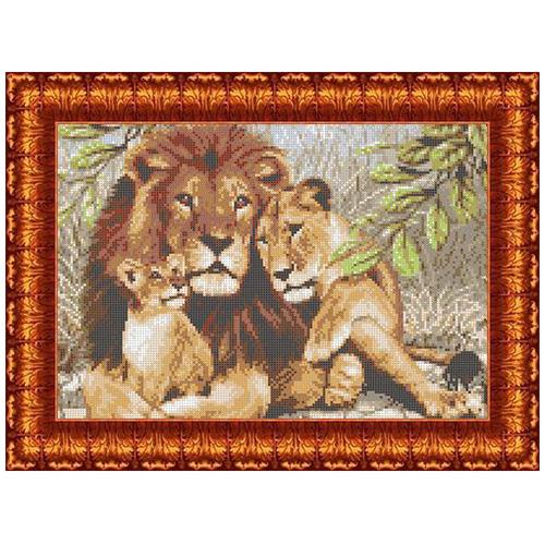 КК 003 Канва с рисунком Каролинка 'Семья львов' 23*30 см