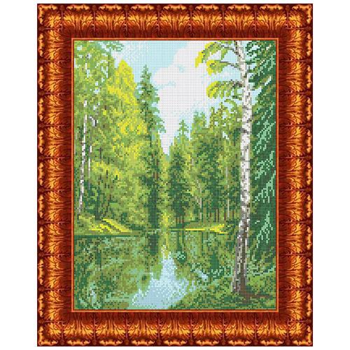 КК 026 Канва с рисунком Каролинка 'Озеро в лесу' 23*30 см