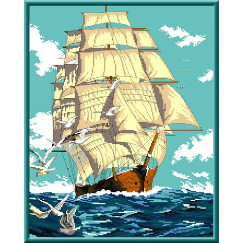 КК 202 Канва с рисунком Каролинка 'Попутный ветер' 31*39 см