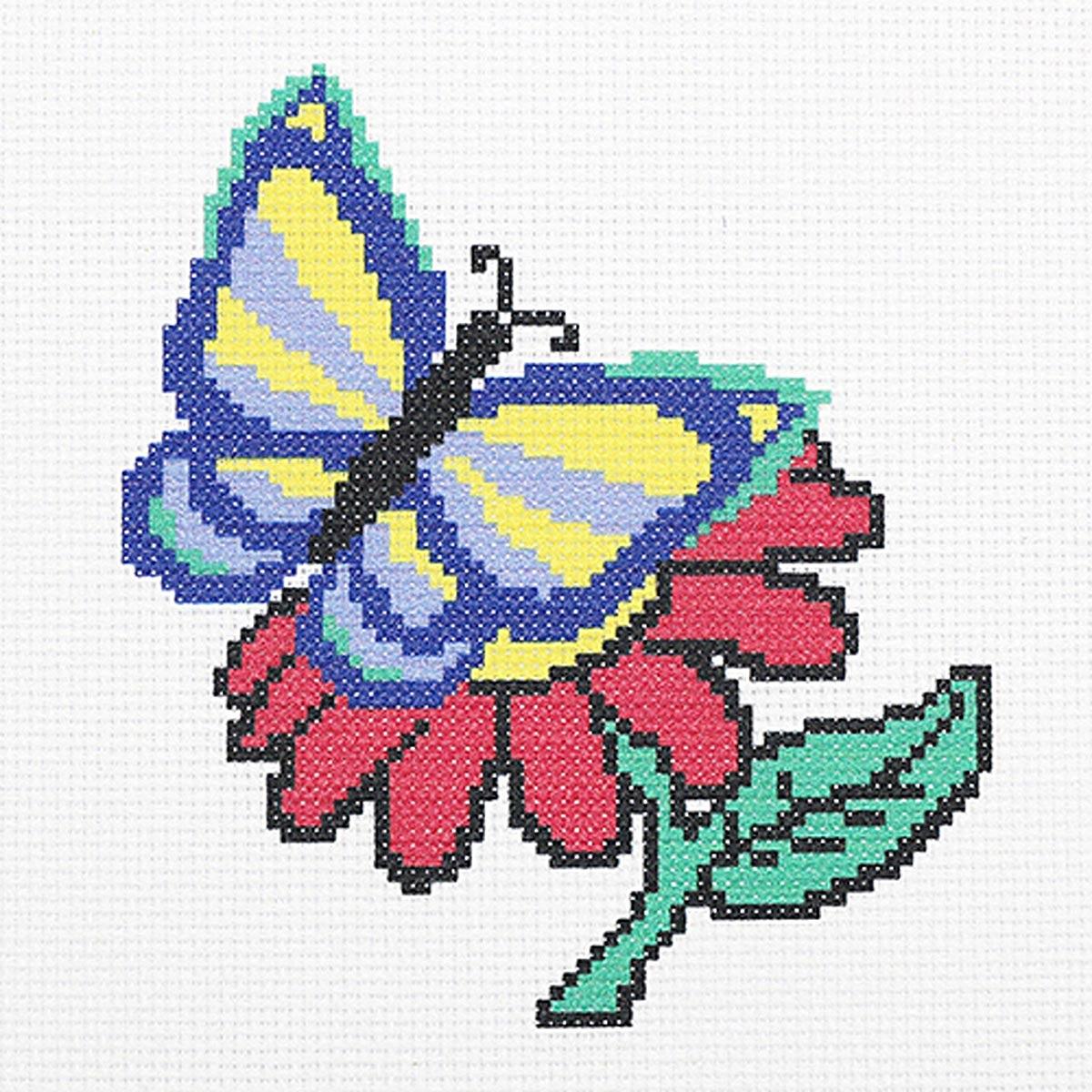 """Набор (рис/канв.мулине) """"Бабочка и цветочек"""" 22*22см, ПК-170, Hobby&Pro"""