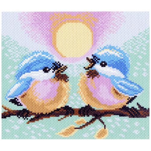 1221-1 Канва с рисунком Матренин посад 'Две птички' 24*35см (28*37см)