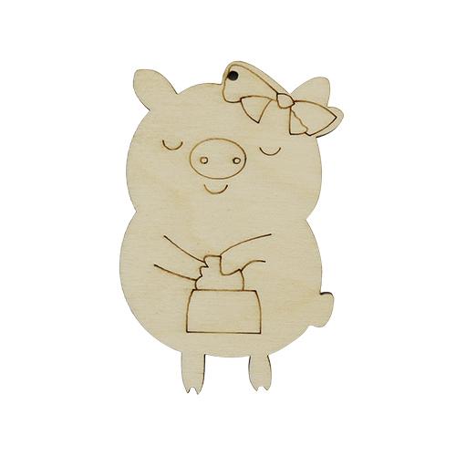 L-991 Деревянная заготовка 'Свинка модница' маленькая 70*50*4мм Астра