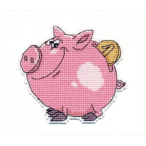 1086 Набор для вышивания ОВЕН 'Свинка-копилка' 9х8см