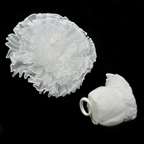 AVB02 Бант на резинке 15см, белый