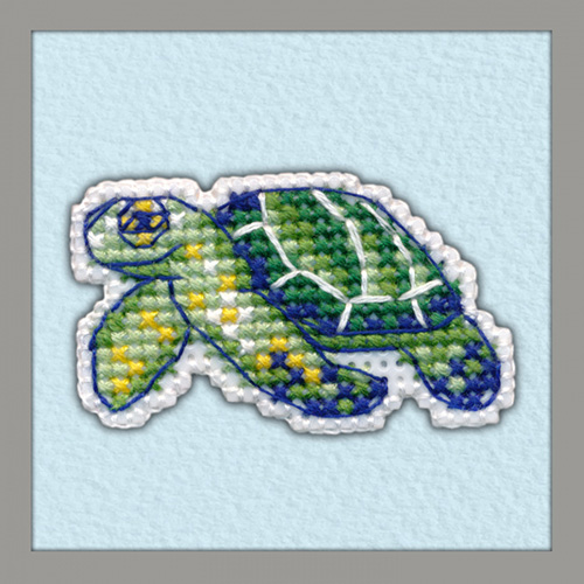 1097 Значок на пластиковой канве ОВЕН 'Черепаха' 4,9х2,9 см