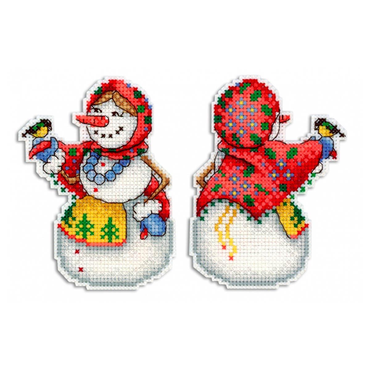 Р-319 Набор для вышивания на пластиковой канве МП Студия 'Снеговушка' 11*8см