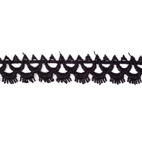 TBY-01250 Кружево гипюр 22мм*13,71м цв.039 черный