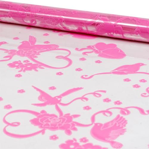 52783 Пленка цветная Голуби с сердцами 70см розовая
