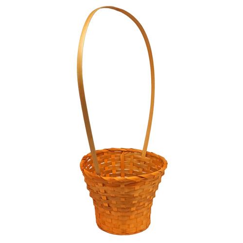 41289 Корзина плетёная бамбук d23xh17/53см оранжевая