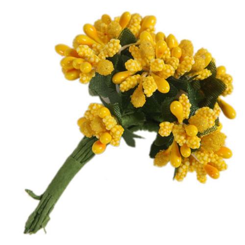 67487 Тычинки для искуственных цветов 12шт. жёлтые