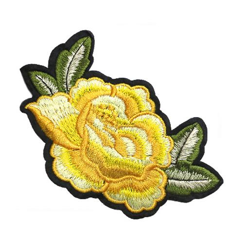 ГФ614 Термоаппликация Роза 12,5*7,7см, жёлтая