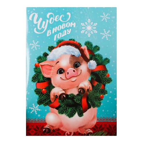 3279000 Фреска-открытка 'Чудес в Новом году!' Хрюшка + 9 цветов песка по 2 гр, стека