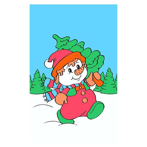 SA041 Набор для рисования по номерам на картоне 'Снеговик' 20*30см