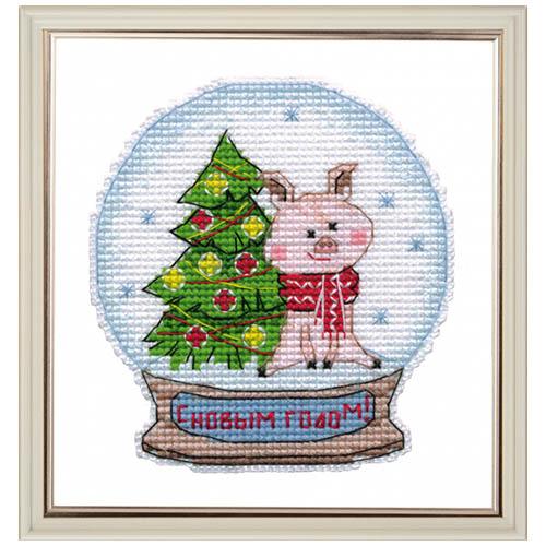1112 Набор для вышивания ОВЕН 'Снежный шар' 9,1х9,8см