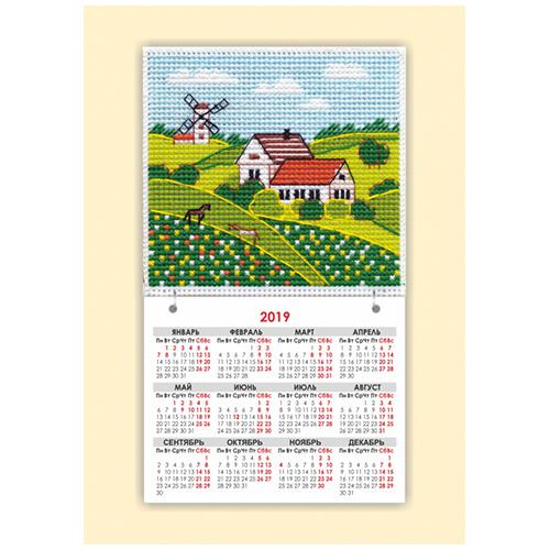 1113 Набор для вышивания магнит-календарик ОВЕН 'Времена года. Лето' 9,5х9,5см
