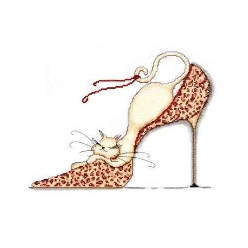 2553 Комплект для вышивания Design Works 'Кошка на леопардовой туфельке' 25*33 см