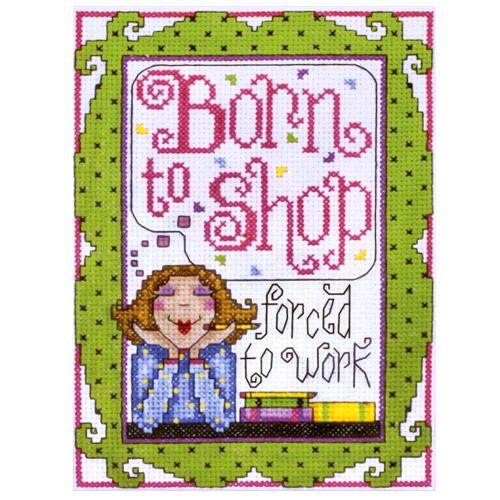 9790 Комплект для вышивания Design Works 'Рождена для покупок' 13*18 см