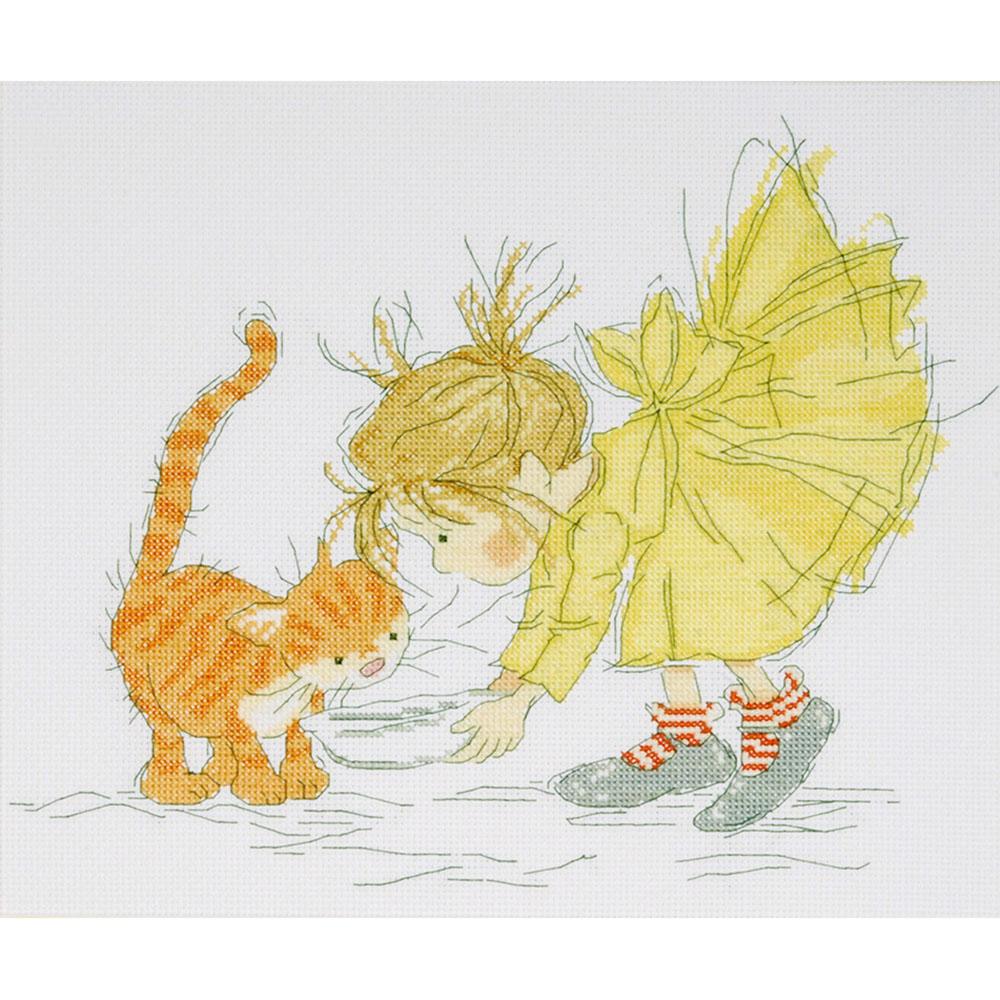 2722 Комплект для вышивания Design Works 'Обед для котенка' 25*30 см