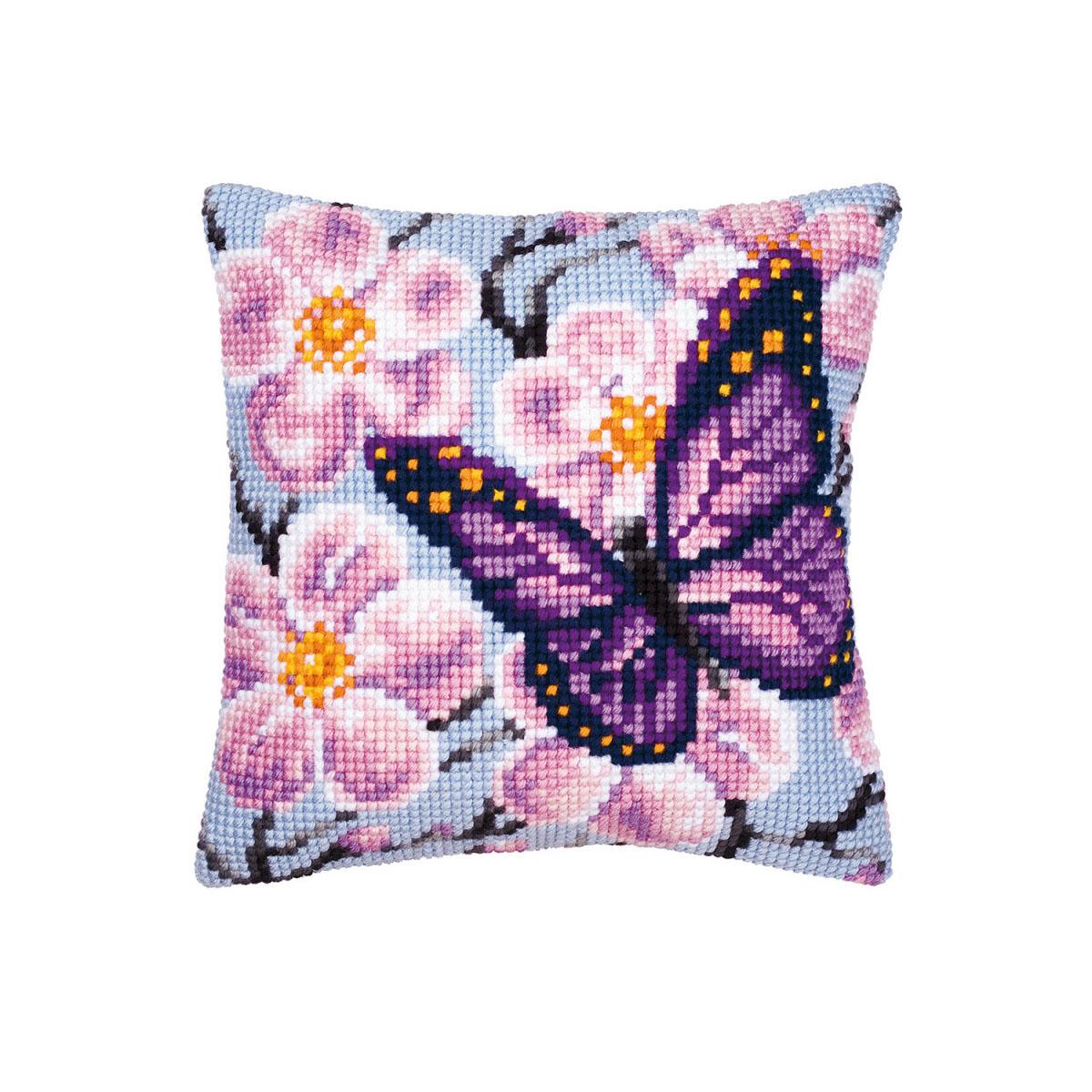 0008501-PN Подушка Vervaco 'Фиолетовая бабочка' 40x40см