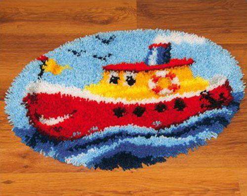 0014375-PN Коврик (ковровая техника) Vervaco 'Пароход' 55x40 см