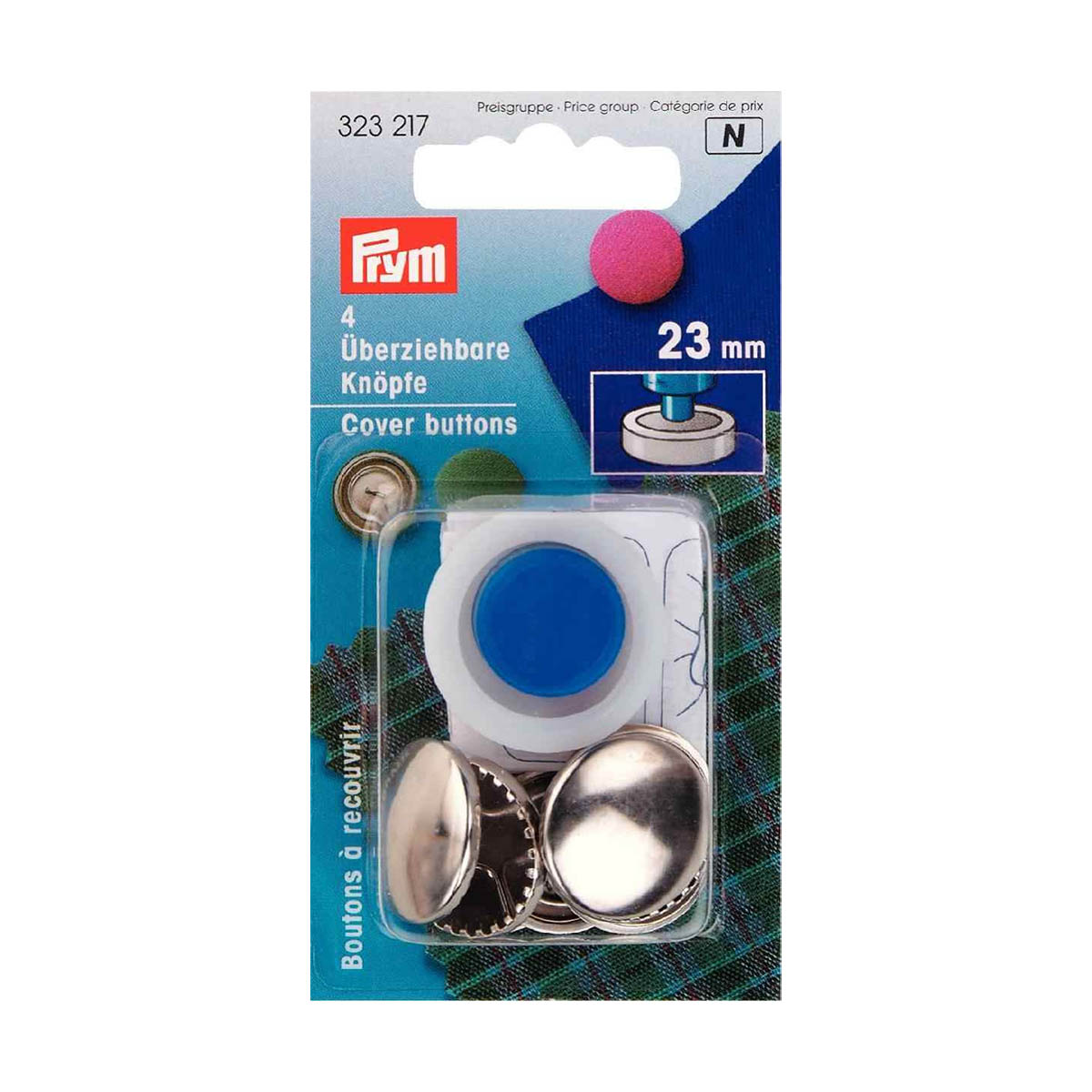 323217 Пуговицы для обтягивания тканью с инстр., 23 мм, упак./4 шт., Prym