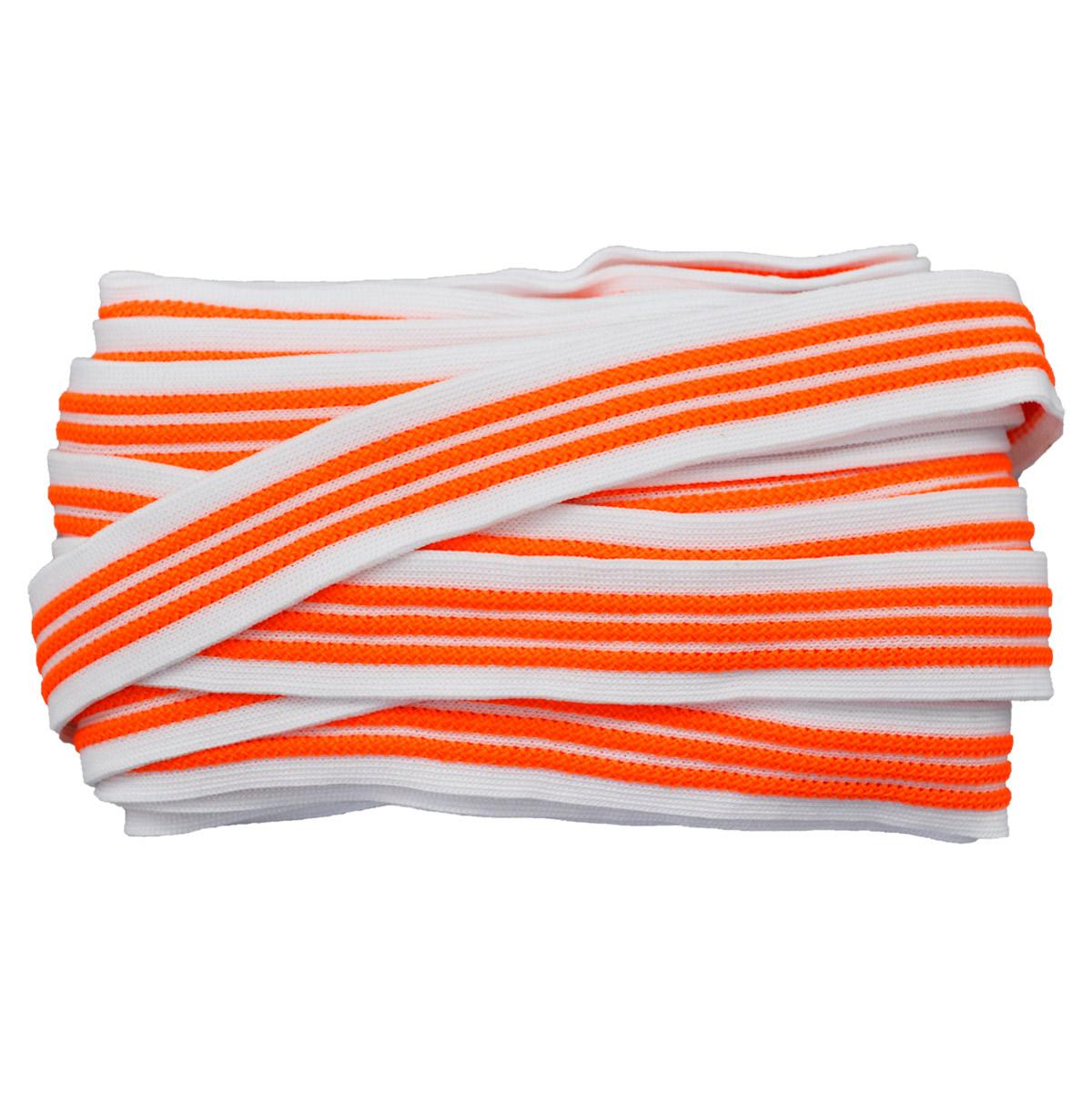 Лента лампасная №98 белый/оранжевый 2см уп*10м, 2135001348337