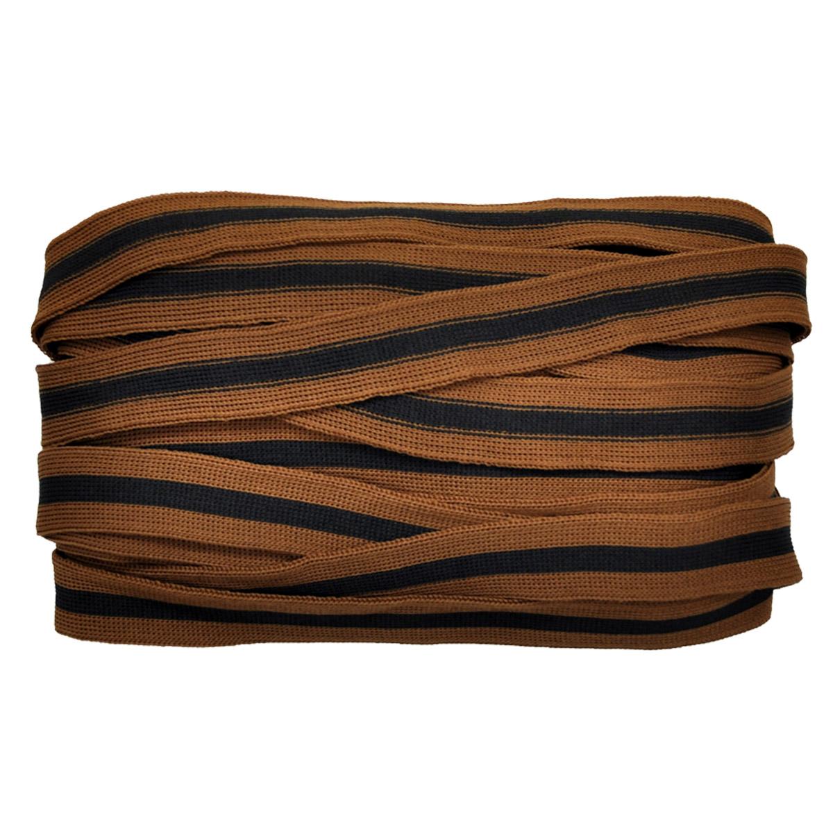 Лента лампасная №119 коричневый/черная полоса 2см уп*10м, 2135001356240