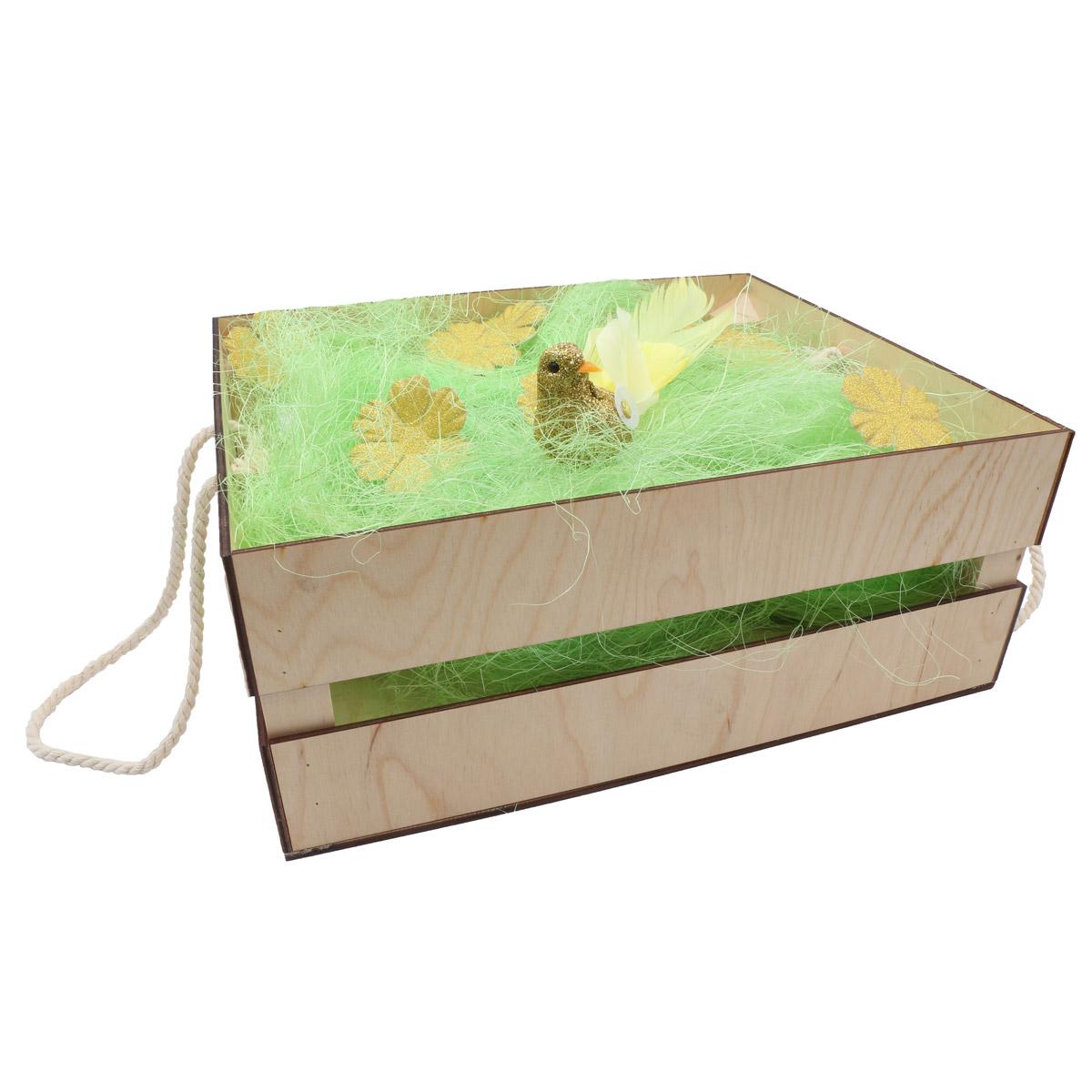 Деревянный ящик для оформления подарка с наполнением №1, 25*30 см