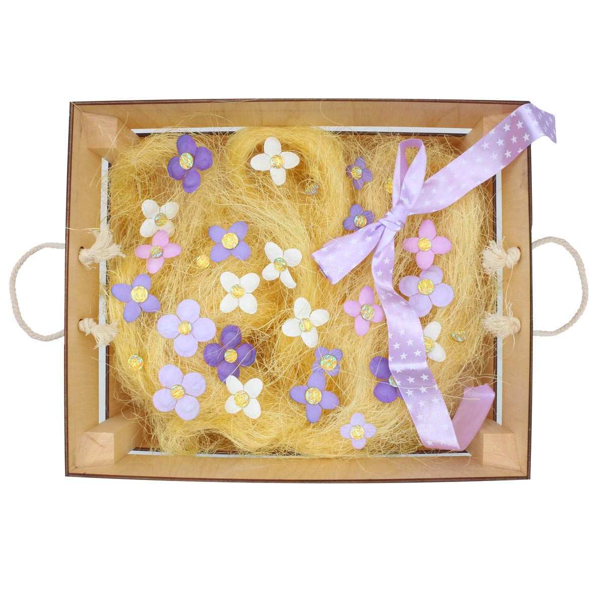Деревянный ящик для оформления подарка с наполнением №4, 25*30 см