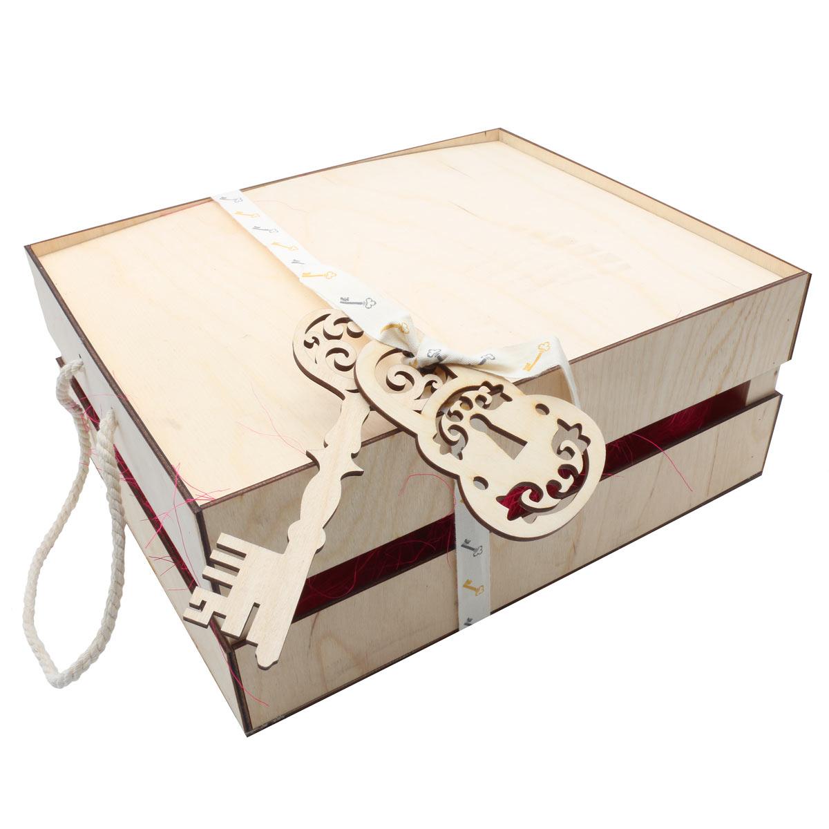 Деревянный ящик для оформления подарка с наполнением №8, 25*30 см
