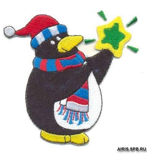 AD1093 Термоаппликация 'Пингвин со звездой', 7,5*6 см, Hobby&Pro