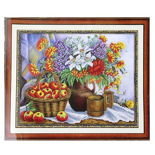 """Набор для вышивания бисером Паутинка 500015 """"Яблоки и садовый букет"""" 28см.*36см."""