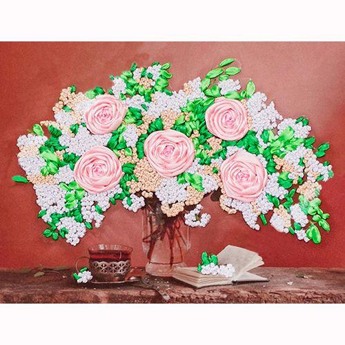 ВЛС 0014 Набор для вышивания лентами Woman-Hobby 'Букет с розами' 28*18 см