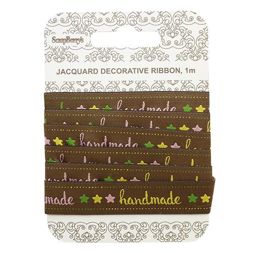 SCB390703 Лента жаккардовая 'Handmade кофе', 15мм, 1м