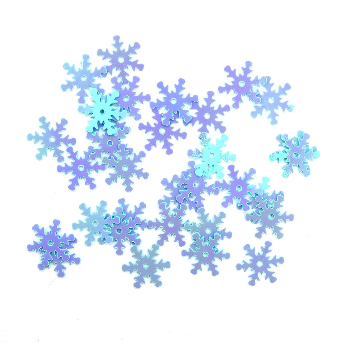Пайетки 'снежинки' 13мм, 'Астра' 10г
