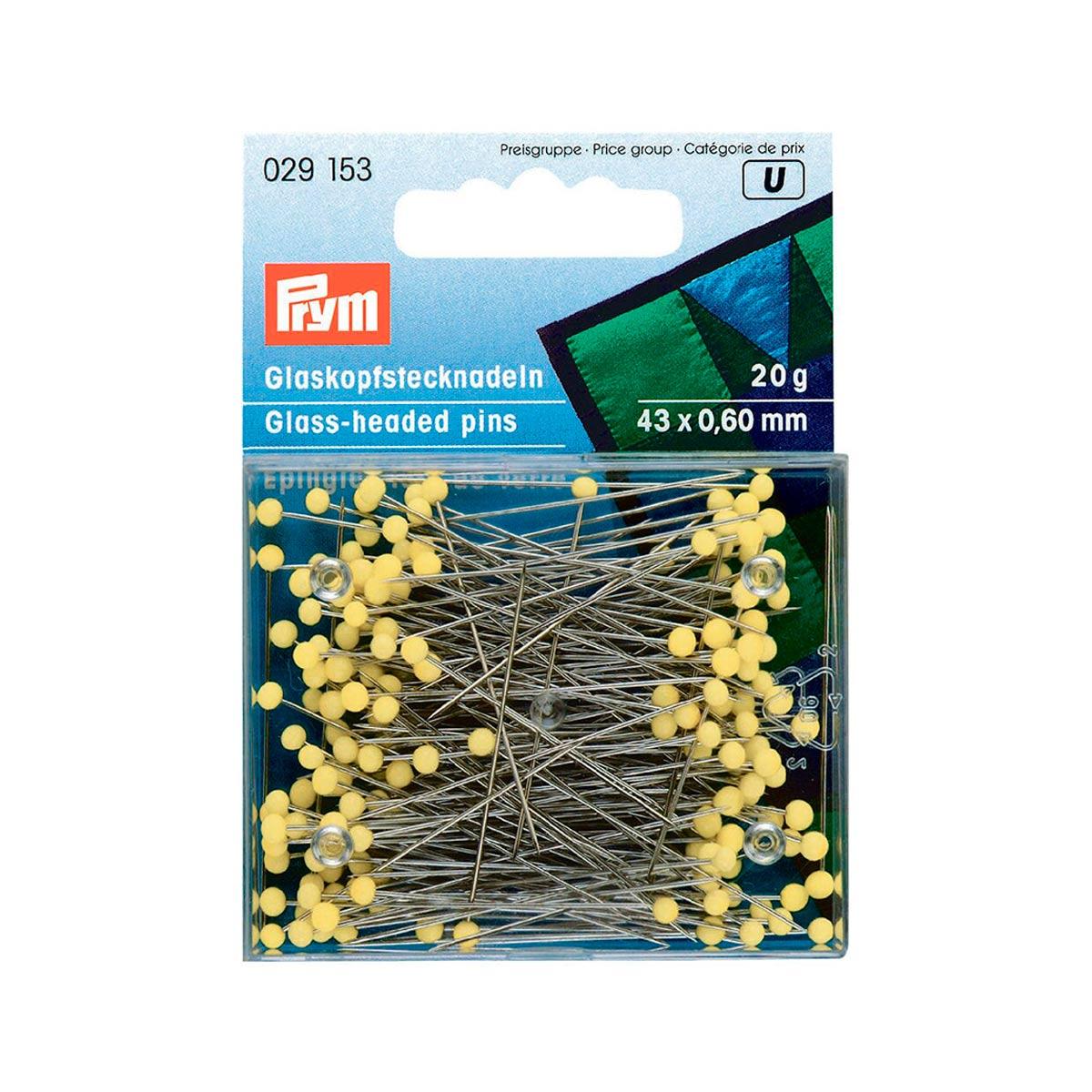029153 Булавки со стеклянной головкой (сталь) 1 серебр. цв., желтые 0,60*43мм Prym