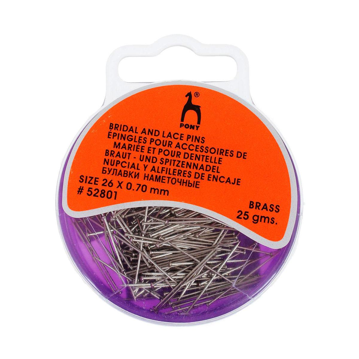 52801 Булавки-гвоздики наметочные 0,70мм/26мм, латунь, 25г PONY